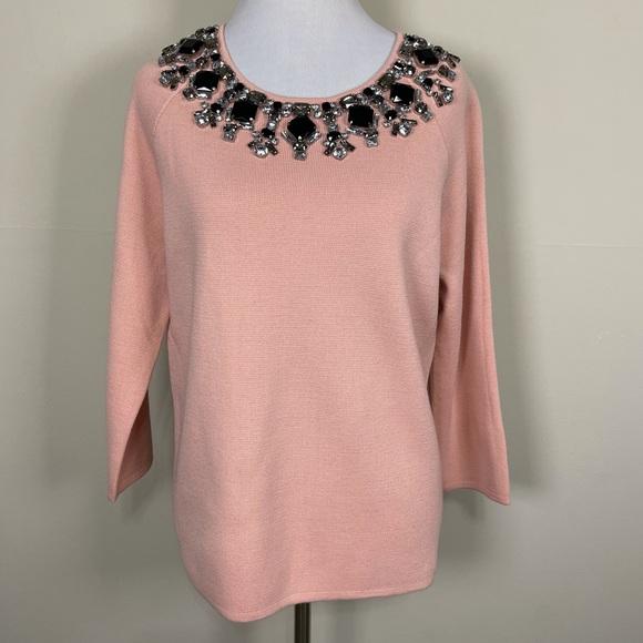 Ann Taylor pink jeweled wool knit top